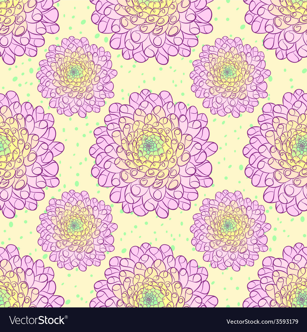 Dahlia seamless pattern vector | Price: 1 Credit (USD $1)