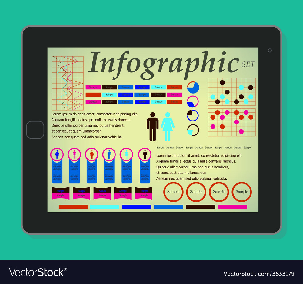 Infographics on the tablet elements set man and vector | Price: 1 Credit (USD $1)