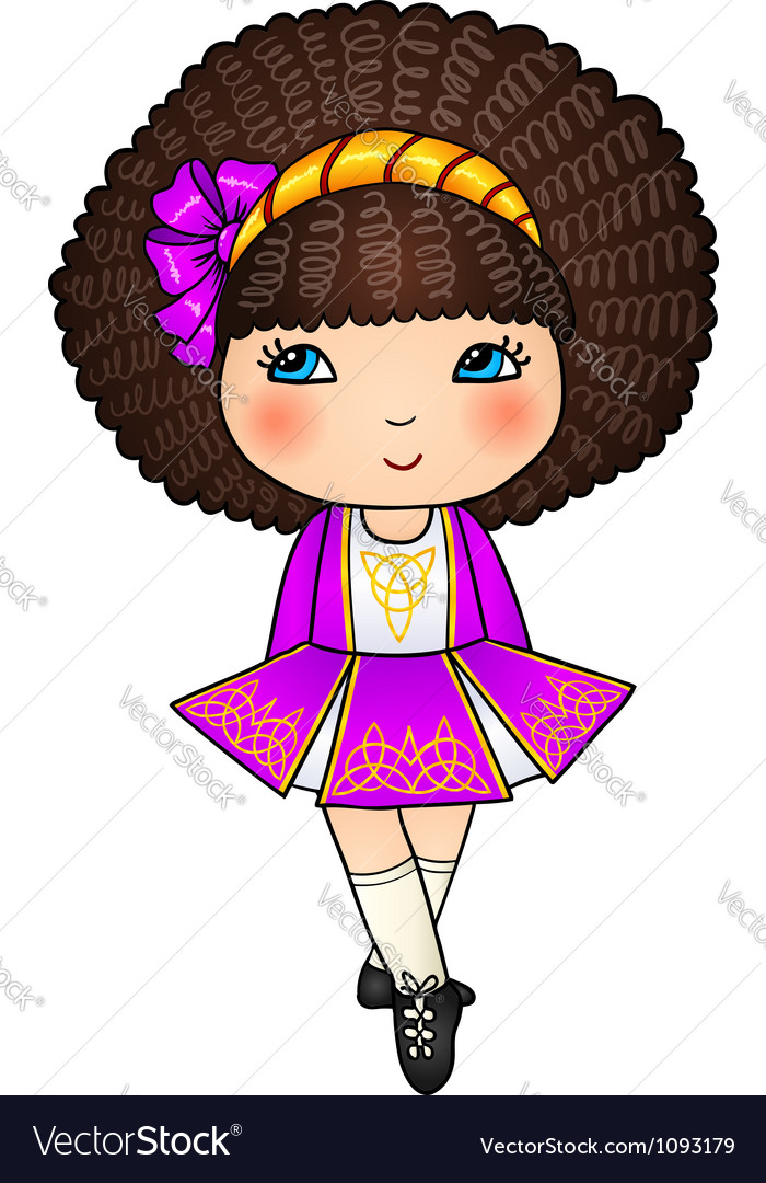 Irish dancing girl in violet traditional dress vector | Price: 1 Credit (USD $1)