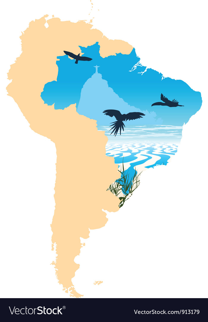 Map picture of south america vector   Price: 1 Credit (USD $1)
