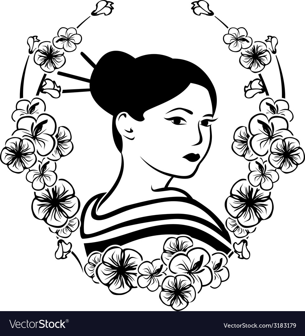 Portrait of a geisha in a wreath of cherry vector | Price: 1 Credit (USD $1)