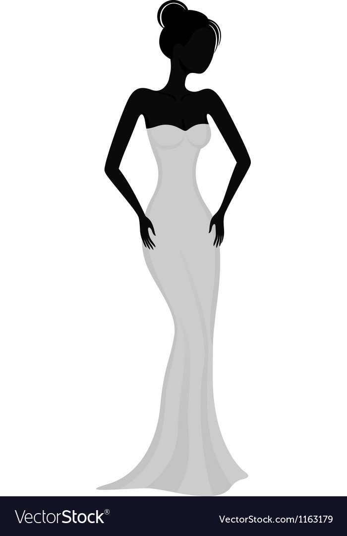 Silhouette of a girl in white evening dress vector | Price: 1 Credit (USD $1)