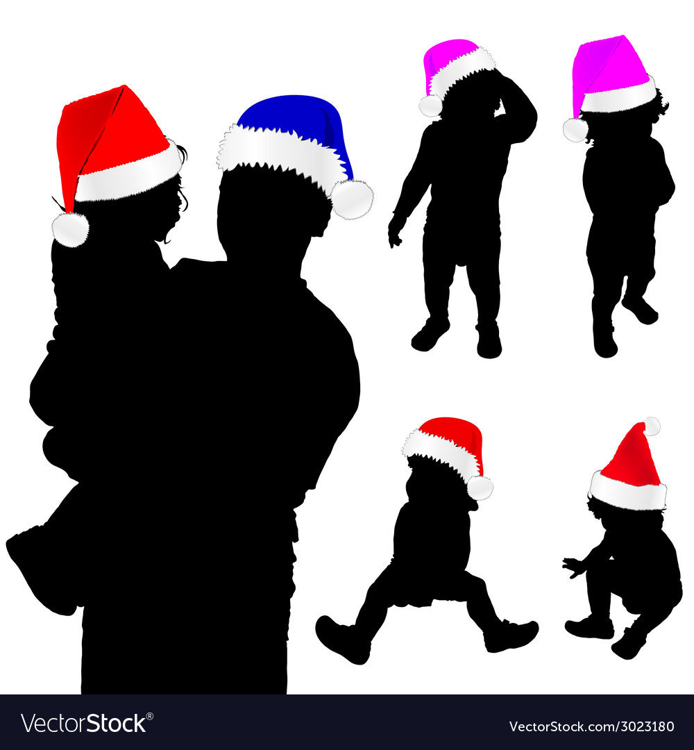 Baby silhouette with christmas hat vector | Price: 1 Credit (USD $1)