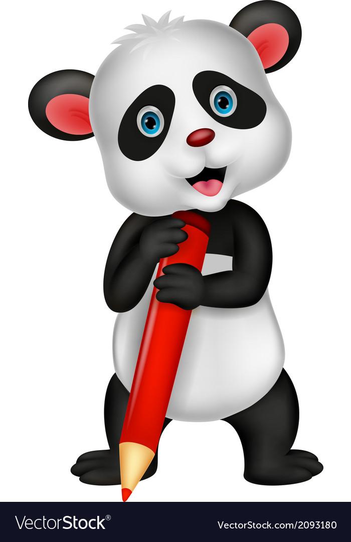 Cute panda bear cartoon holding red pencil vector | Price: 1 Credit (USD $1)