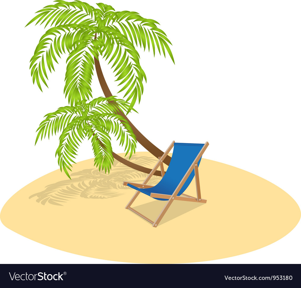 Deck chair palm vector | Price: 1 Credit (USD $1)