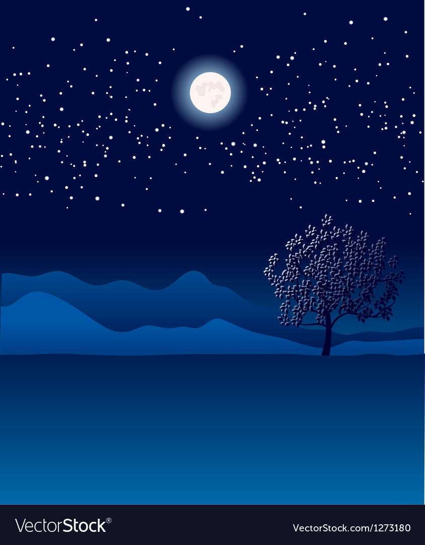 Lonely tree in night landscape vector | Price: 1 Credit (USD $1)