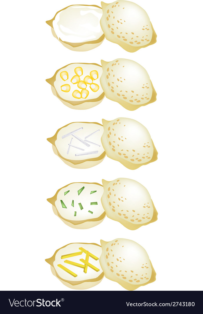 Set of thai coconut rice cake on white background vector | Price: 1 Credit (USD $1)