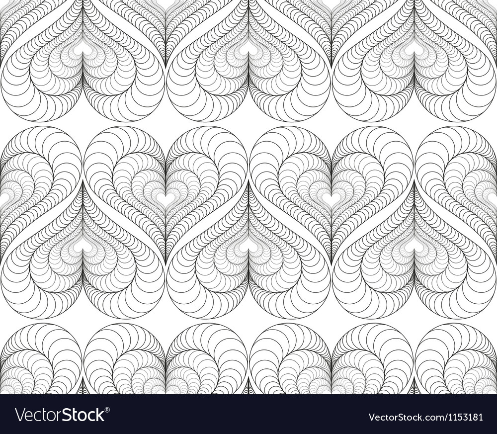 Abstract pattern with a lined symmetric hearts vector | Price: 1 Credit (USD $1)