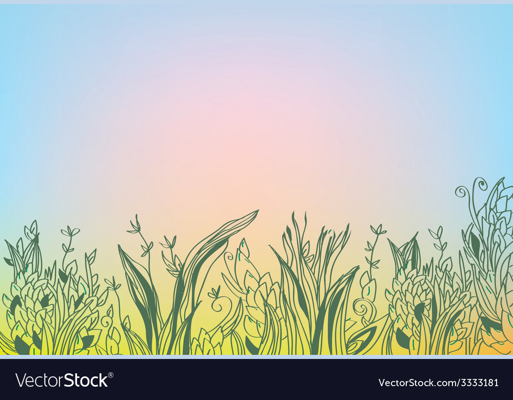 Autumn background with grass and glow vector | Price: 1 Credit (USD $1)