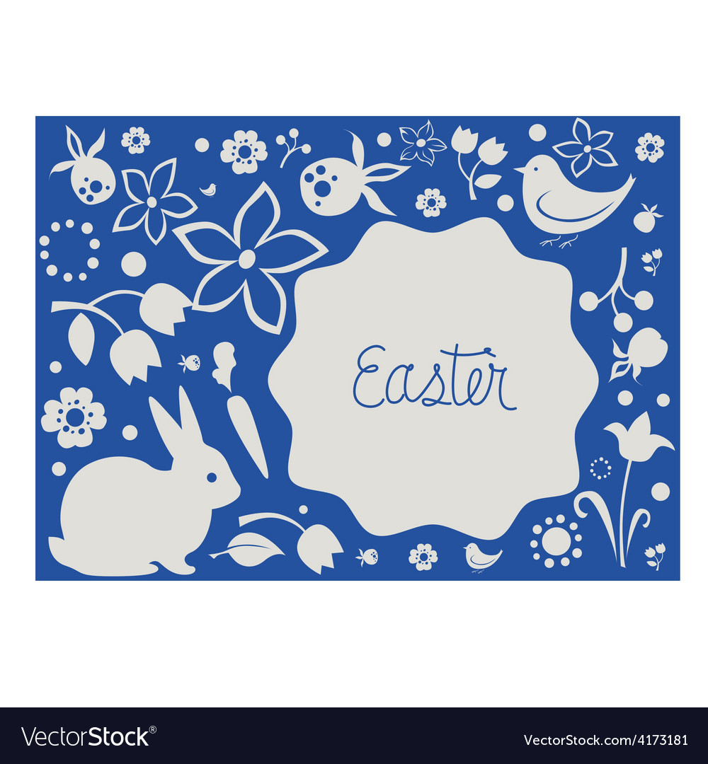 Easter card with floral elements and cute animals vector | Price: 1 Credit (USD $1)