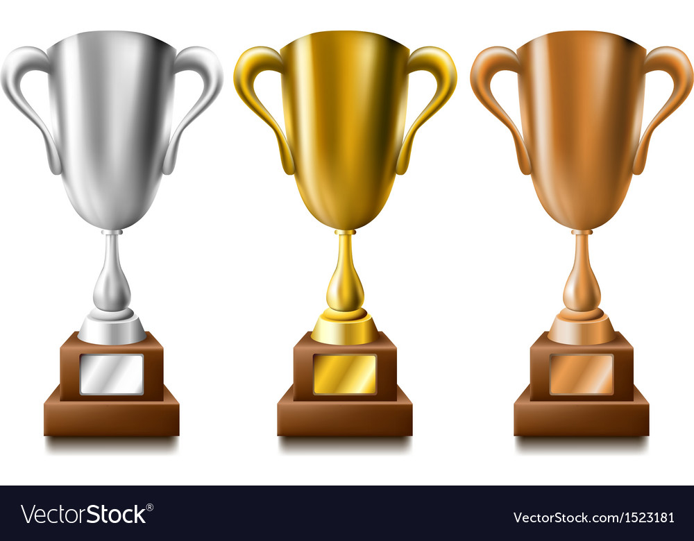 Gold silver and bronze trophy set vector | Price: 1 Credit (USD $1)