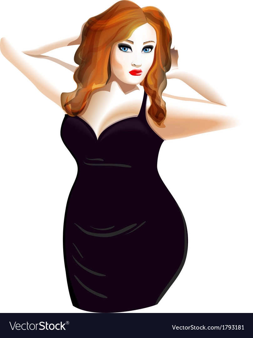 Plus size model in a black dress vector | Price: 1 Credit (USD $1)