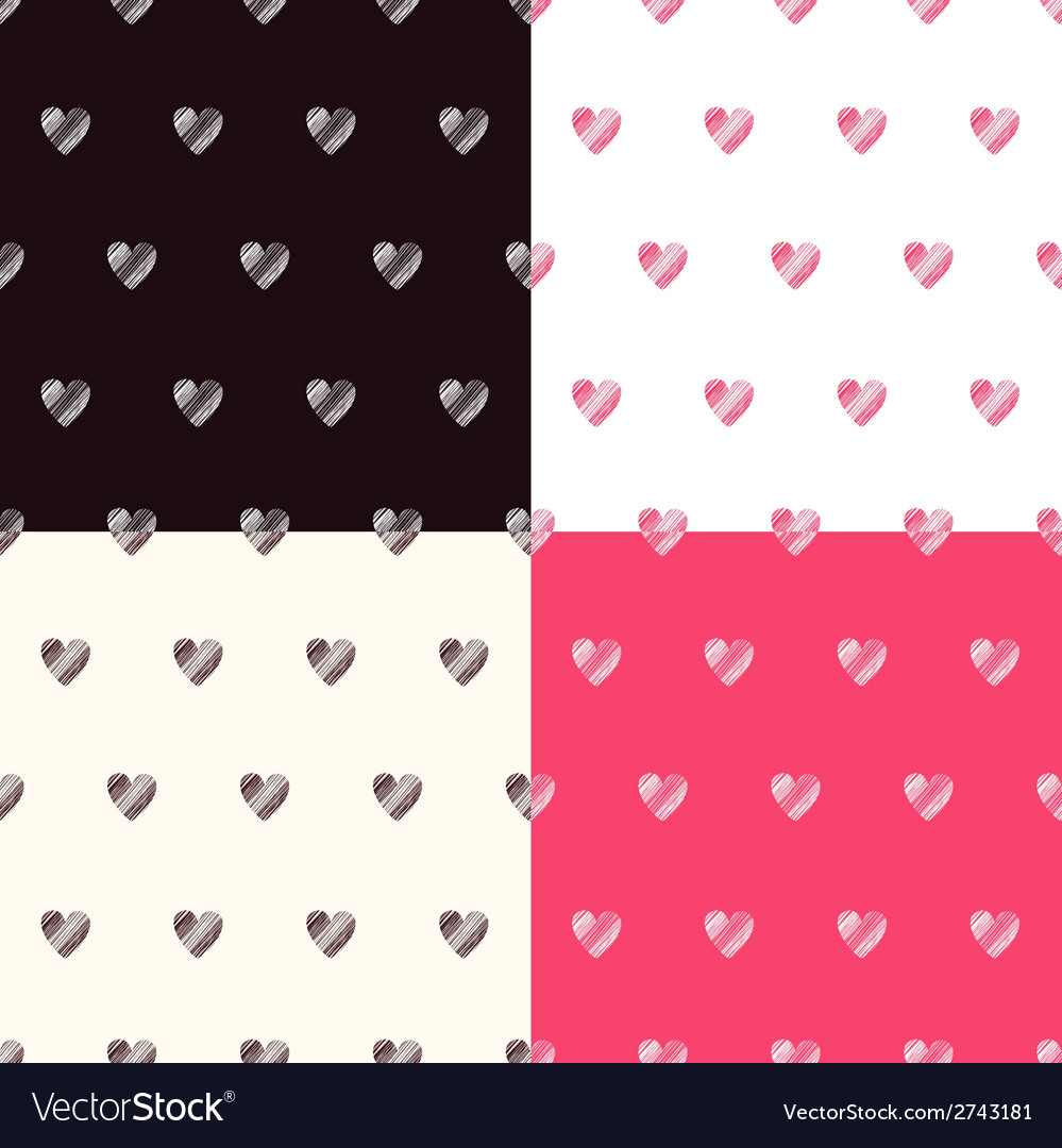 Seamless pattern with textured hearts set vector | Price: 1 Credit (USD $1)