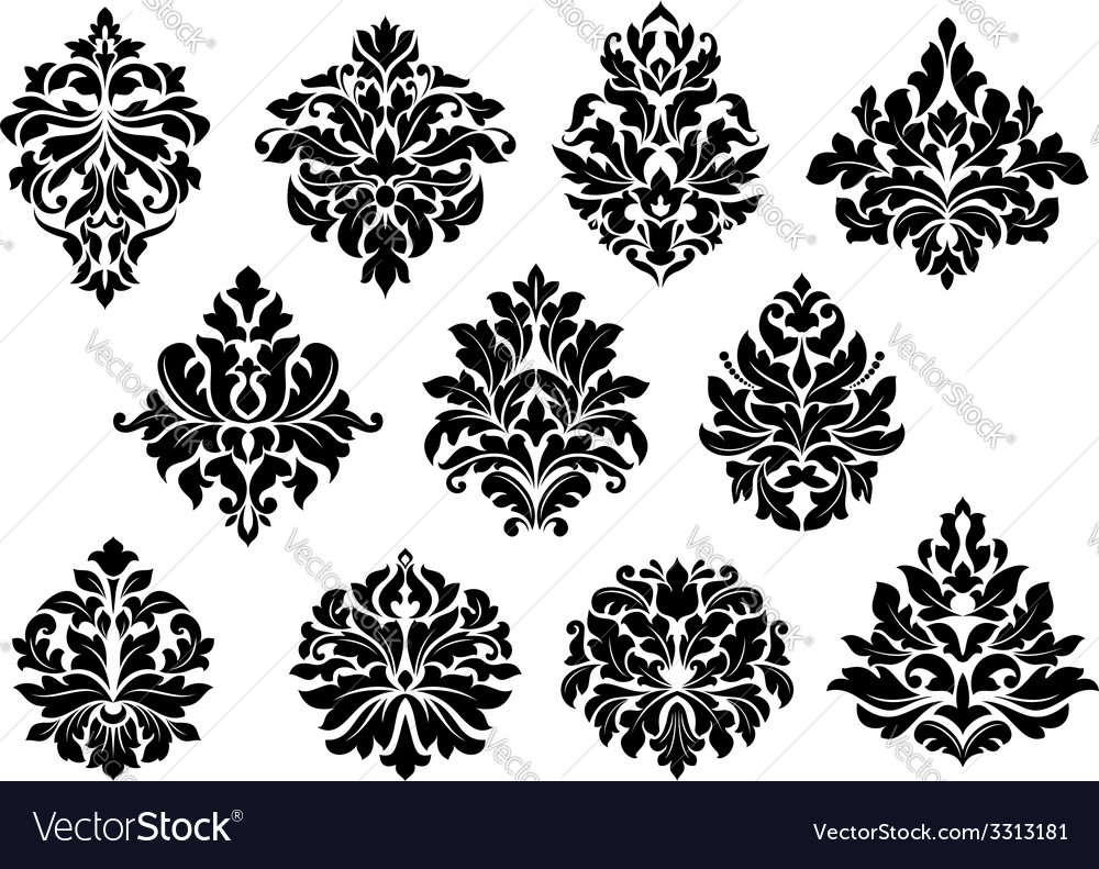 Set of floral and foliate floral motifs vector | Price: 1 Credit (USD $1)