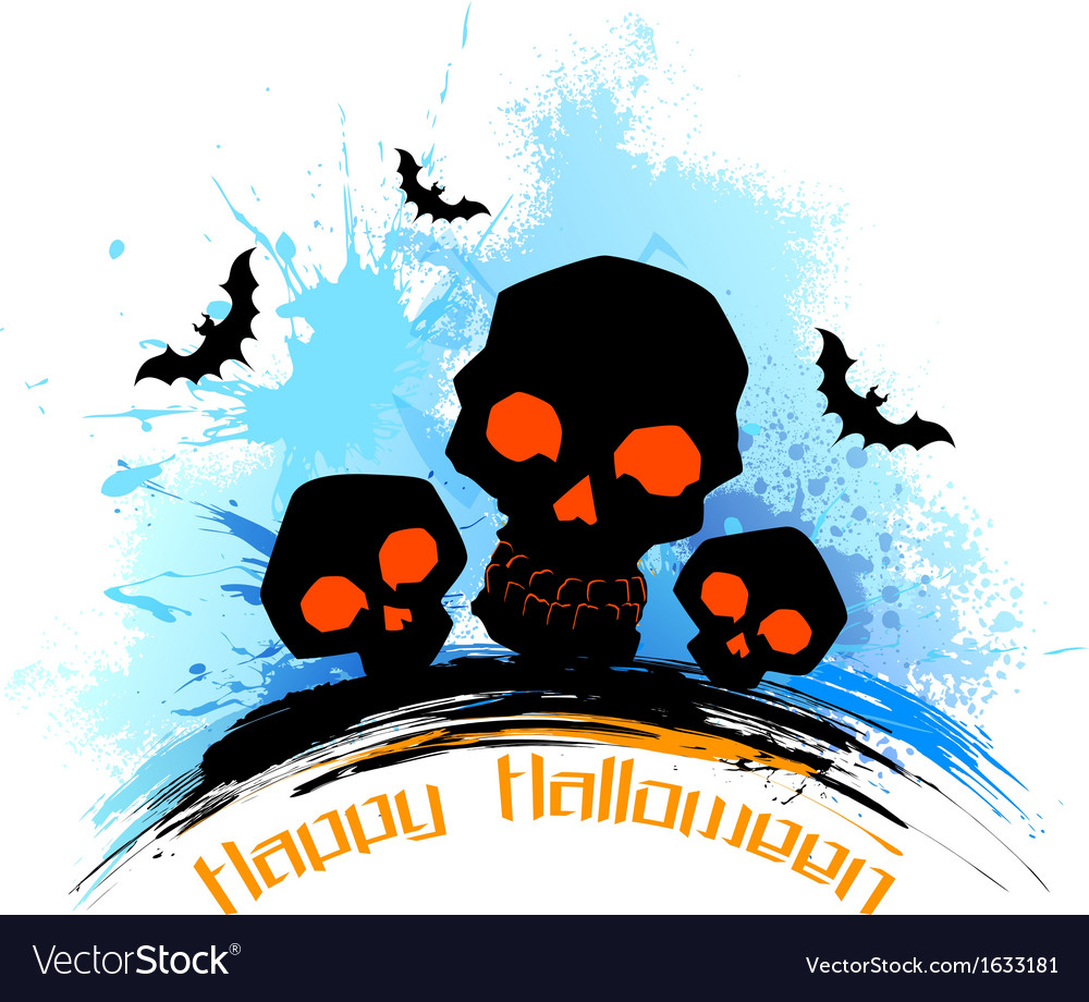 Skull in grungy halloween background vector | Price: 1 Credit (USD $1)