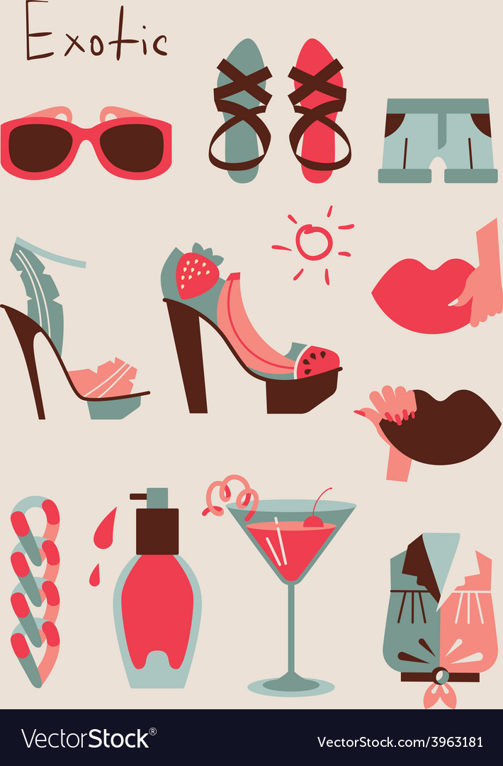 Summer collection of isolated woman clothes and vector | Price: 1 Credit (USD $1)