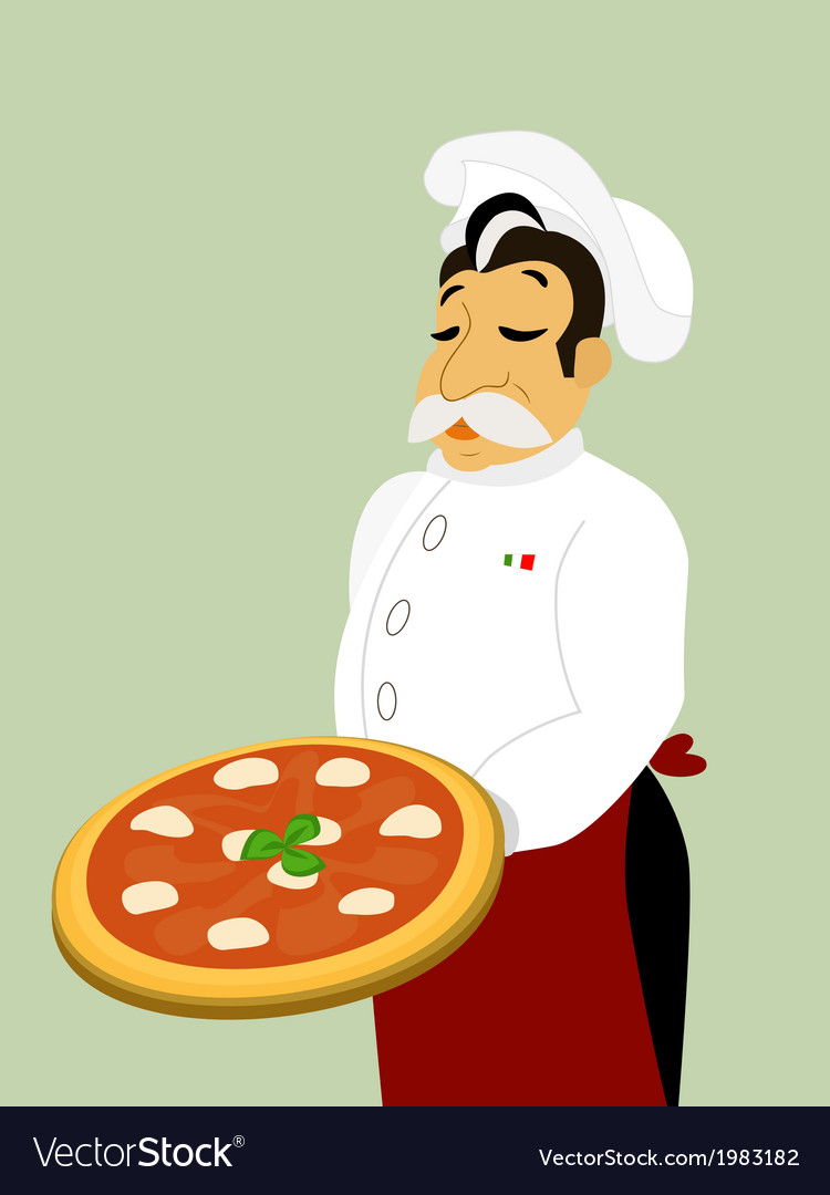 Chef with mozzarella pizza vector | Price: 1 Credit (USD $1)