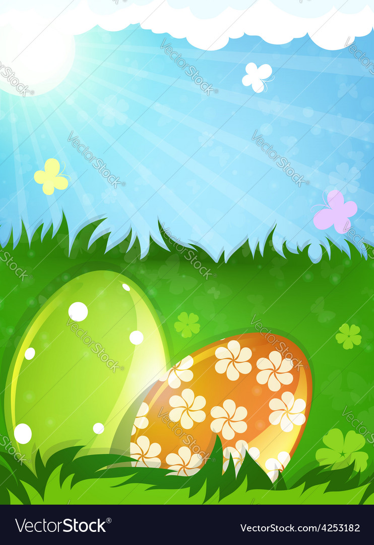 Easter eggs in the spring meadow vector | Price: 3 Credit (USD $3)