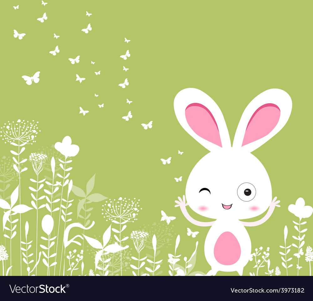 Easter florals with bunny vector | Price: 1 Credit (USD $1)