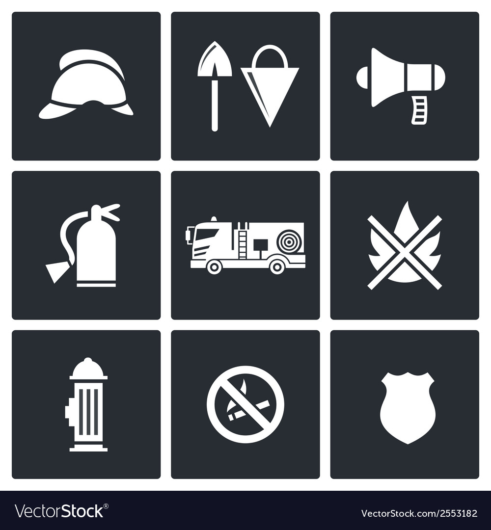 Fire department service icons set vector | Price: 1 Credit (USD $1)