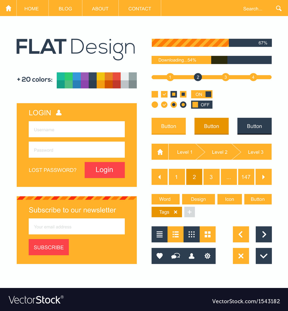 Flat web and mobile design elements buttons icons vector | Price: 1 Credit (USD $1)