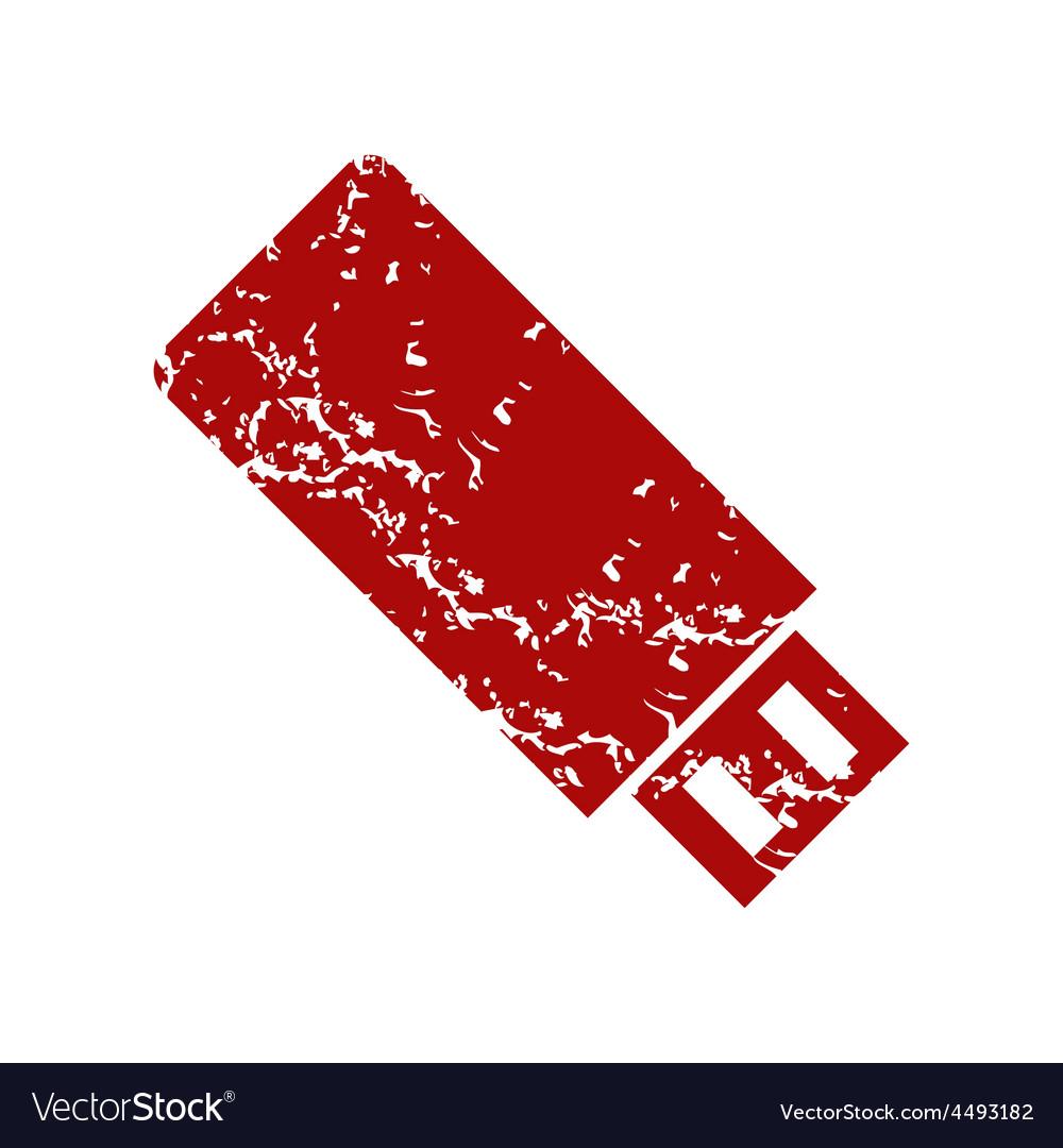 Red grunge usb stick logo vector | Price: 1 Credit (USD $1)
