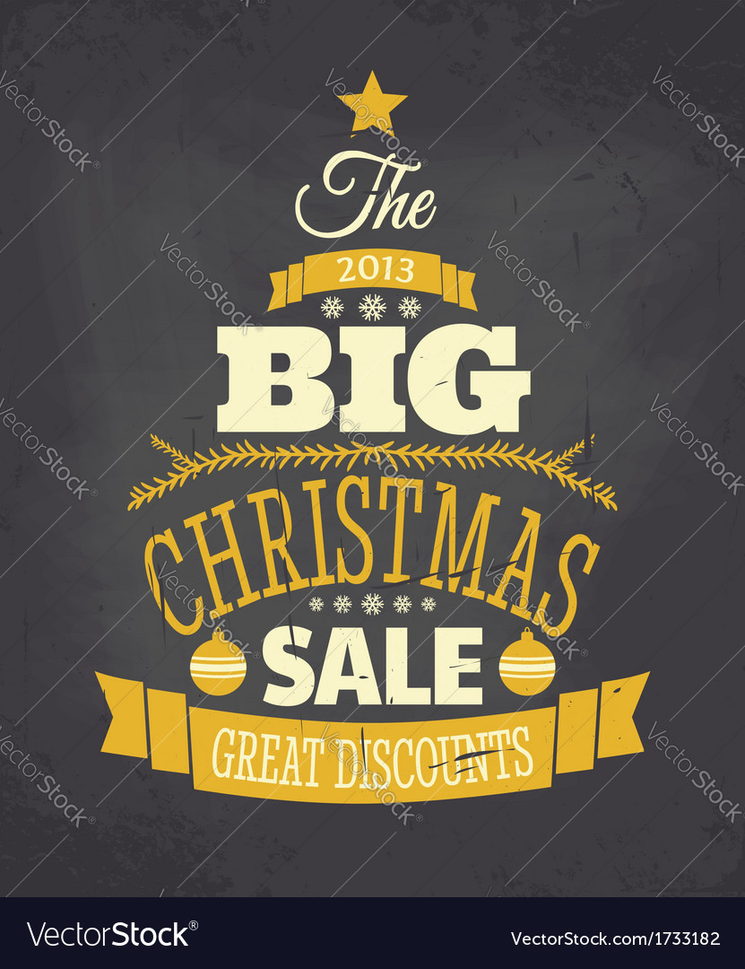 Retro chalkboard style christmas sale poster vector | Price: 1 Credit (USD $1)
