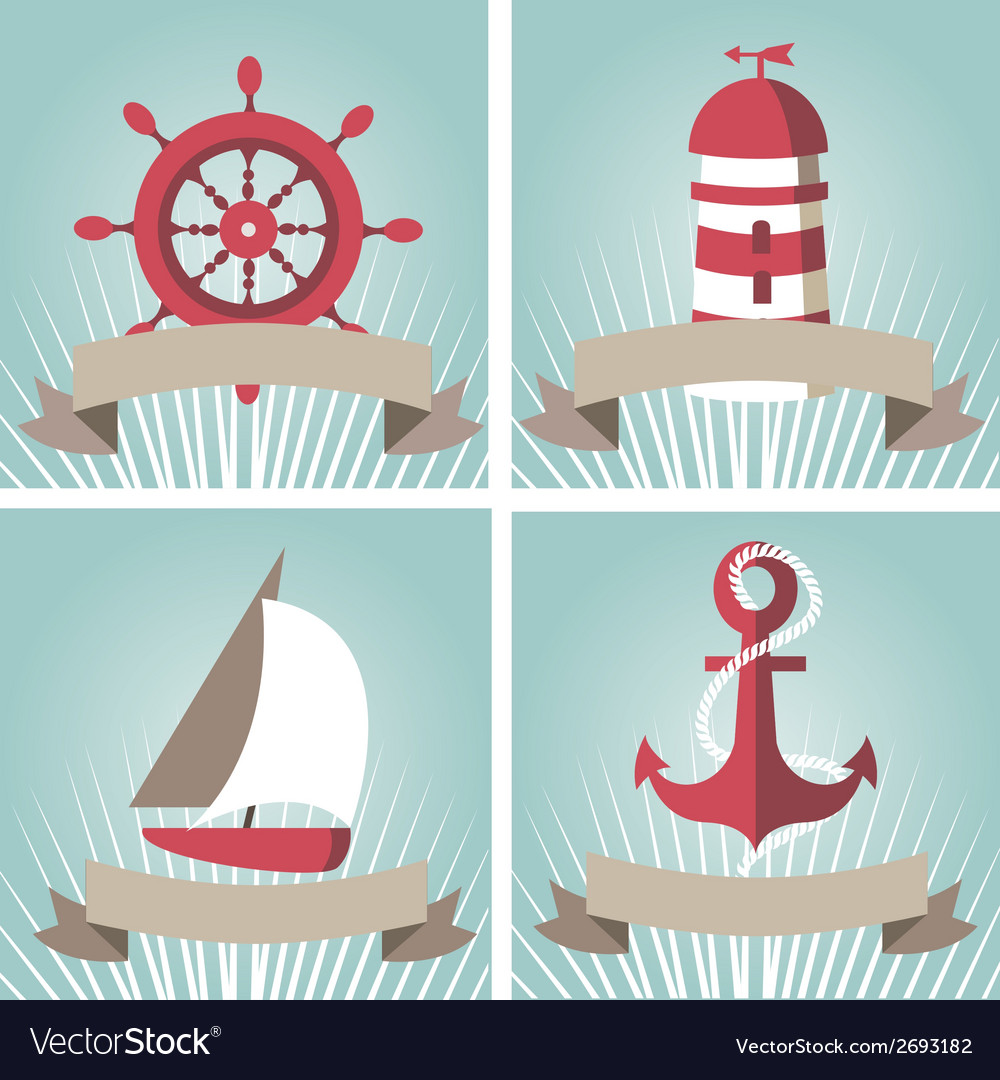 Set of seascape with nautical elements vector | Price: 1 Credit (USD $1)