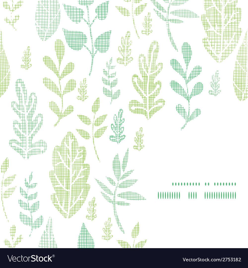 Textile textured spring leaves frame corner vector | Price: 1 Credit (USD $1)