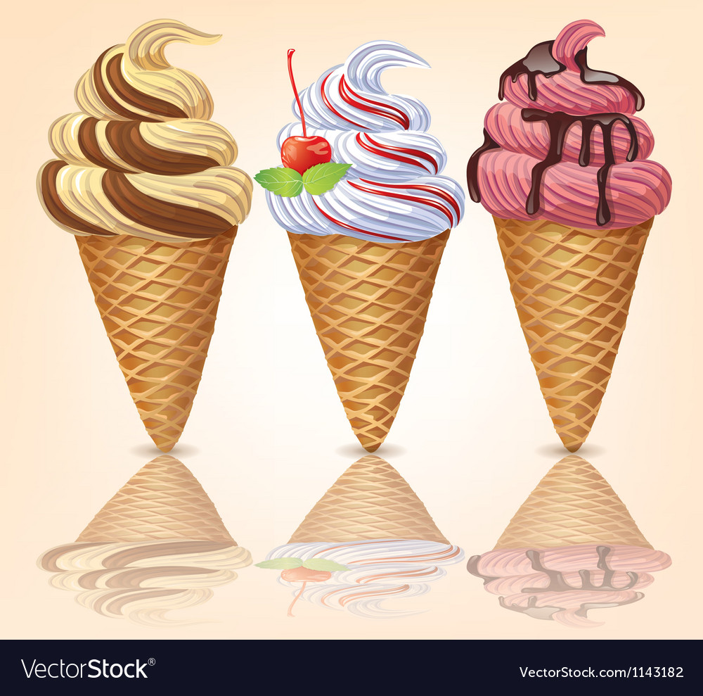 Three delicious ice cream vector