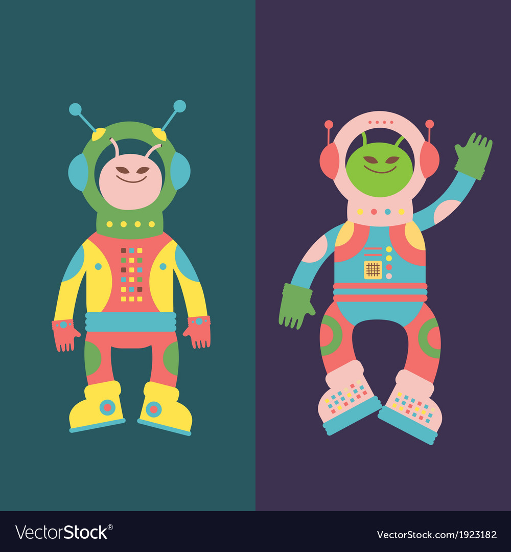 Two friends aliens vector | Price: 1 Credit (USD $1)