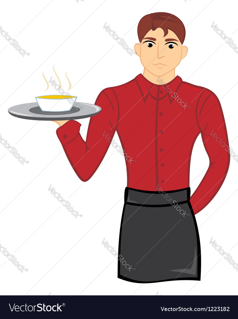 Waiter with soup vector | Price: 1 Credit (USD $1)