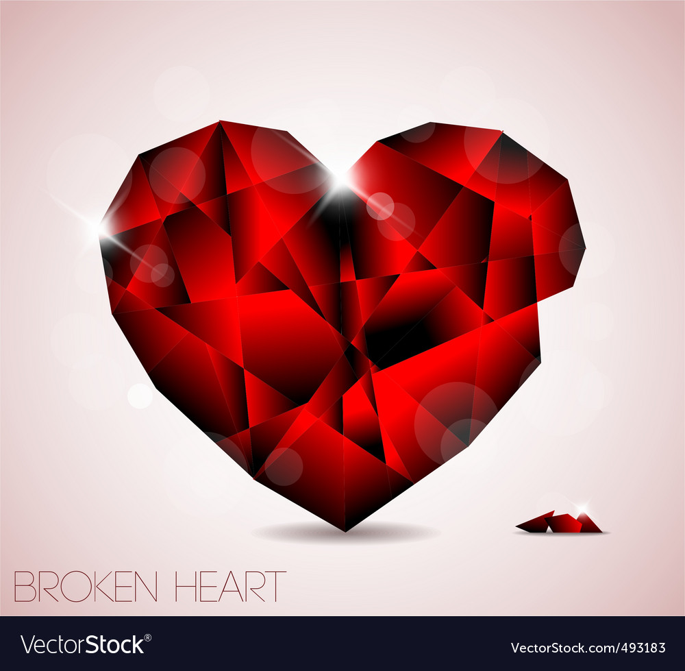 Broken red diamond jewel heart vector | Price: 1 Credit (USD $1)