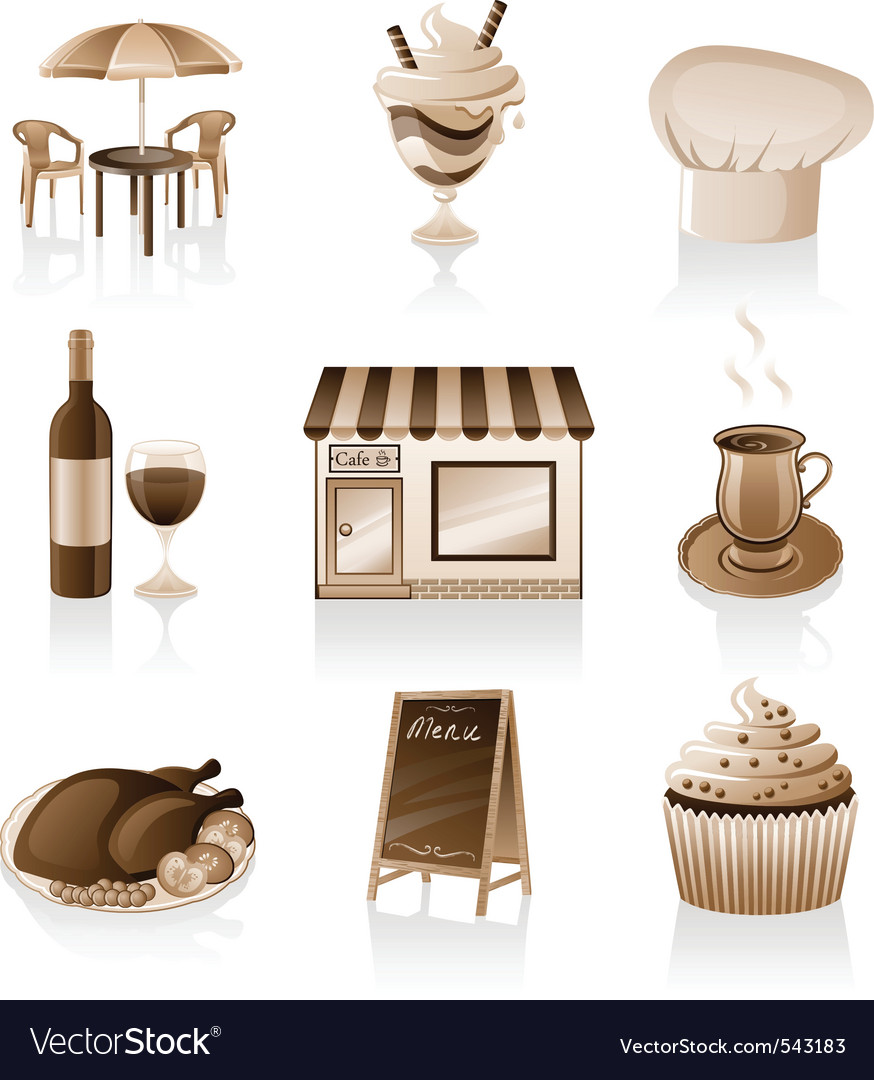 Cafe icon set vector | Price: 3 Credit (USD $3)