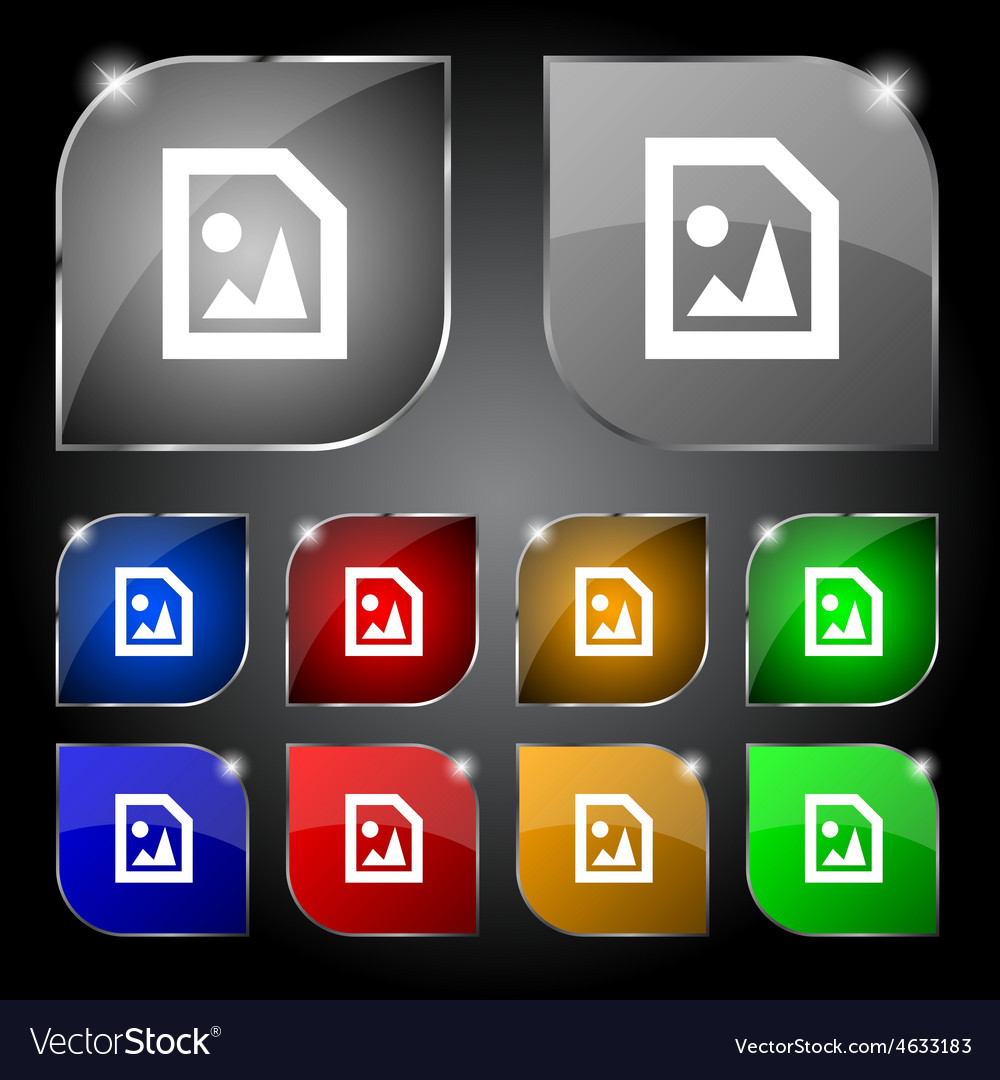 File jpg icon sign set of ten colorful buttons vector | Price: 1 Credit (USD $1)