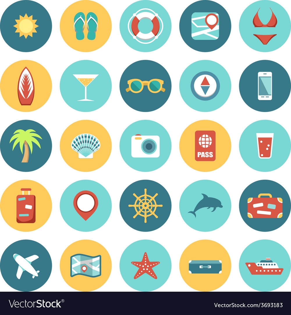 Flat icons set for web and mobile applications vector | Price: 1 Credit (USD $1)
