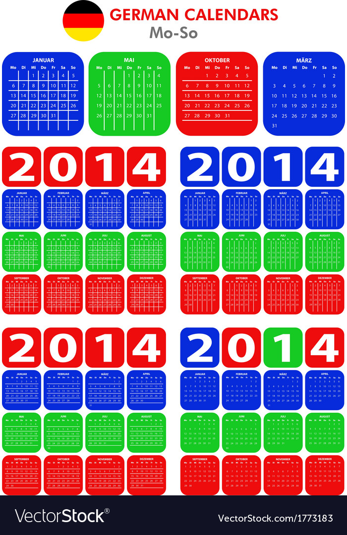 German calendar 2014 vector | Price: 1 Credit (USD $1)
