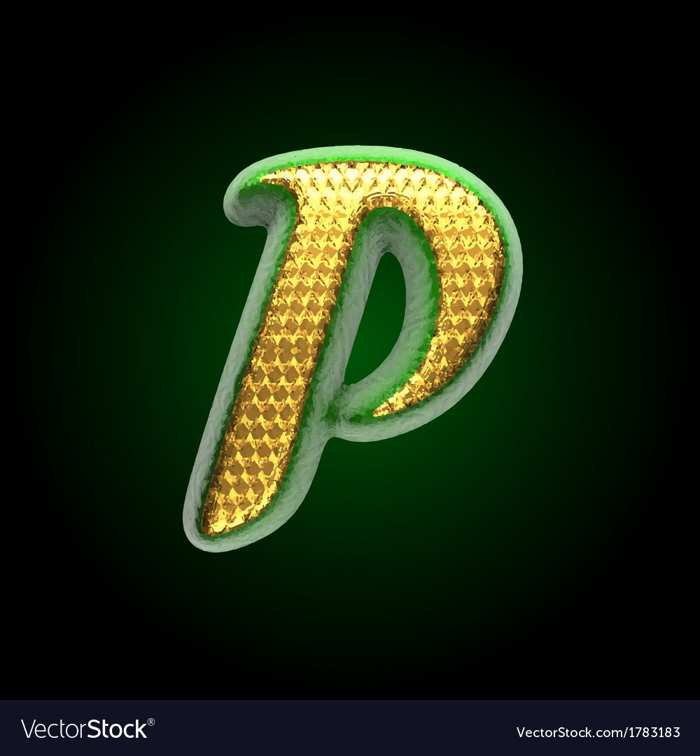 Golden and green letter p vector | Price: 1 Credit (USD $1)
