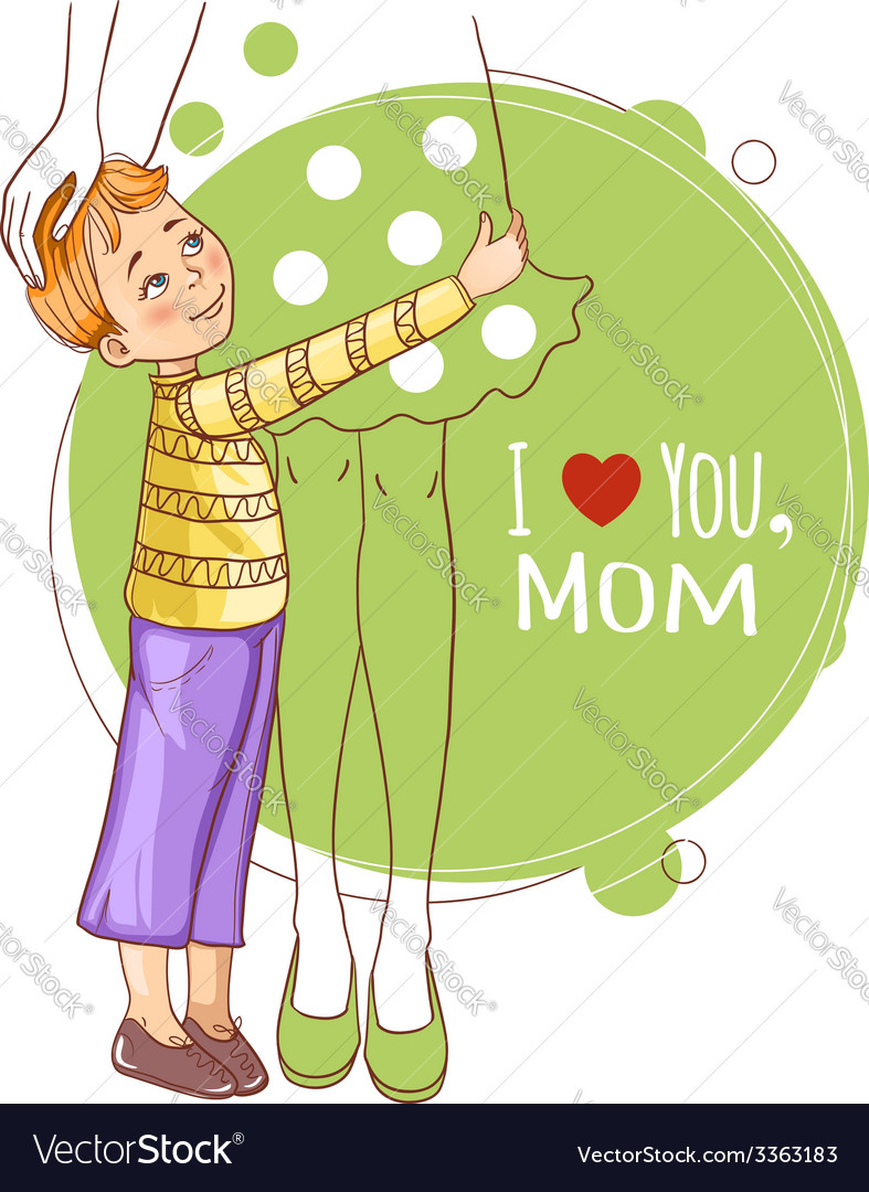 Little boy embraces his mother vector | Price: 1 Credit (USD $1)