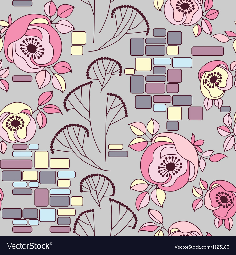 Roses on a brick wall seamless pattren vector | Price: 1 Credit (USD $1)