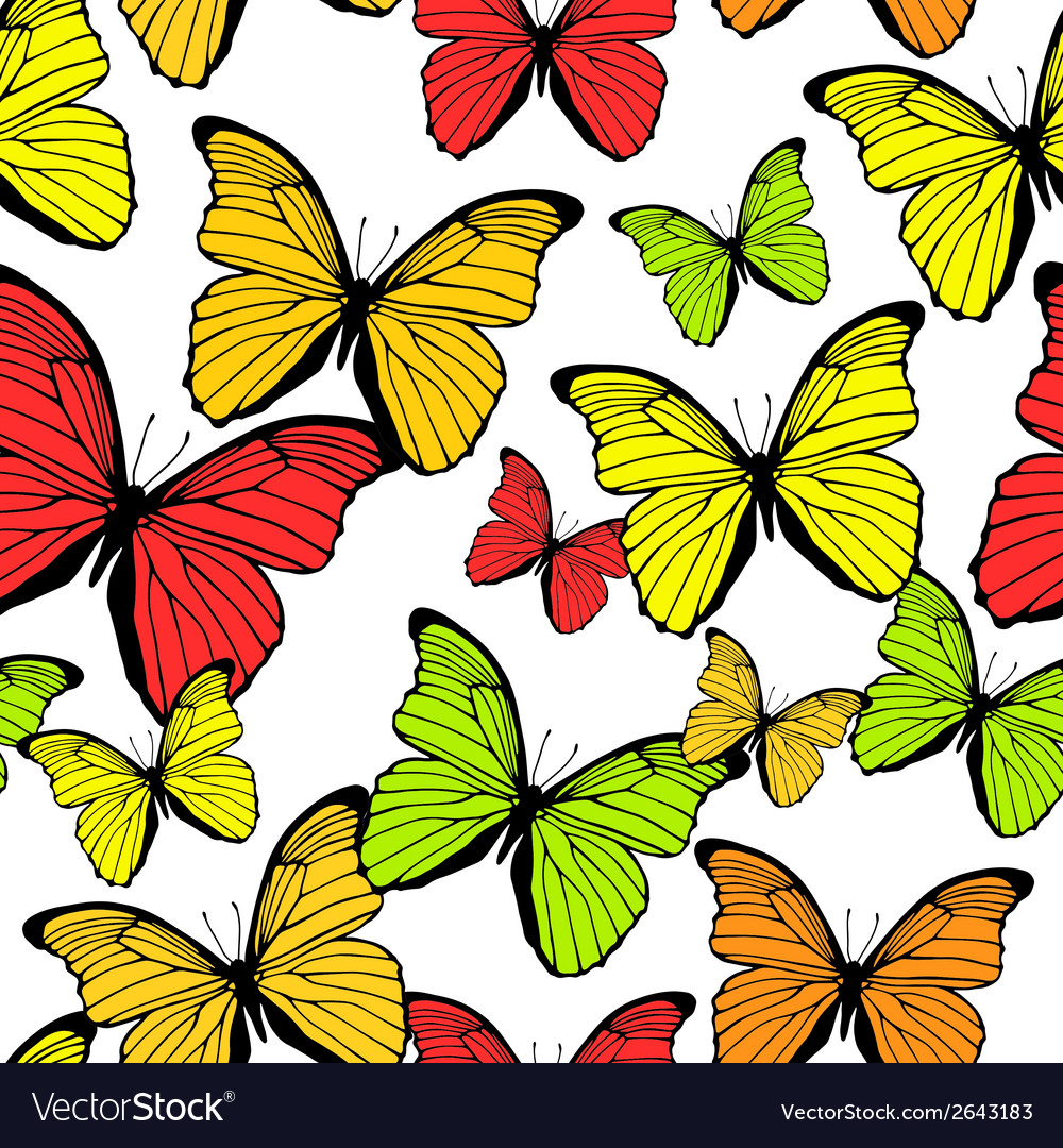 Seamless pattern with bright colorful butterflies vector | Price: 1 Credit (USD $1)
