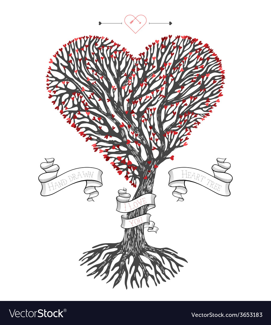 Tree crown like heart with leafs vector | Price: 1 Credit (USD $1)
