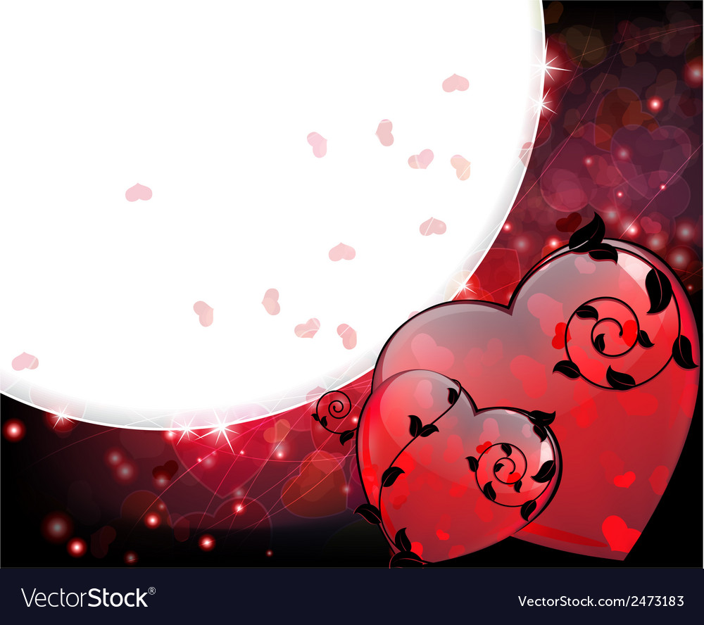 Valentines hearts with black floral elements vector | Price: 1 Credit (USD $1)