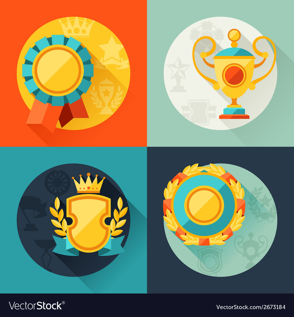 Backgrounds with trophy and awards in flat design vector | Price: 1 Credit (USD $1)