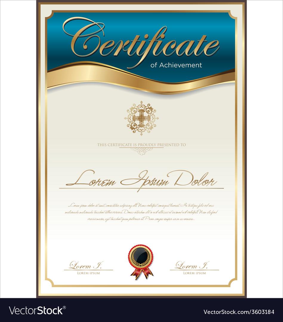Blue certificate template vector | Price: 1 Credit (USD $1)