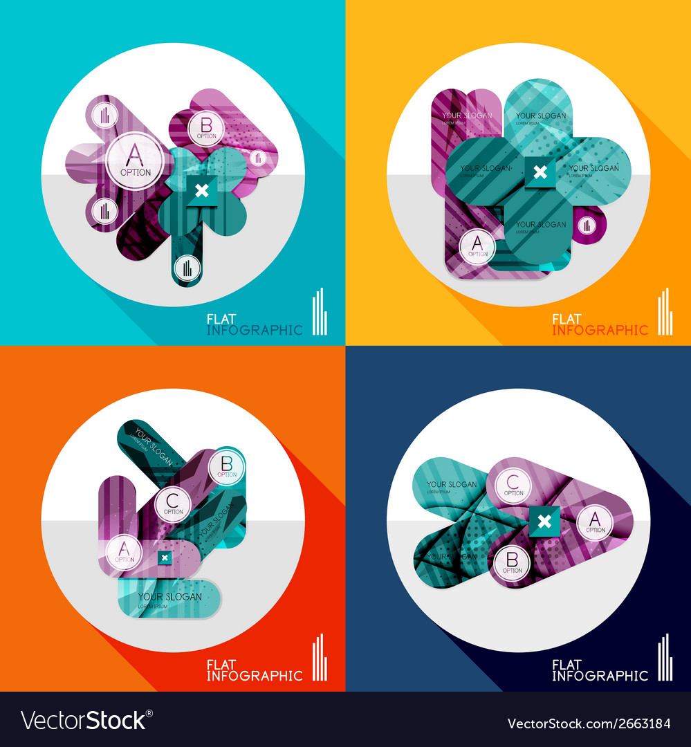 Geometric infographic set in trendy flat style vector   Price: 1 Credit (USD $1)