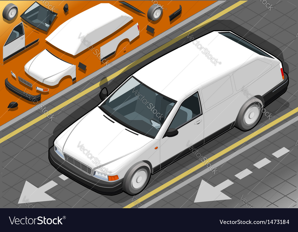 Isometric white station wagon car vector | Price: 1 Credit (USD $1)