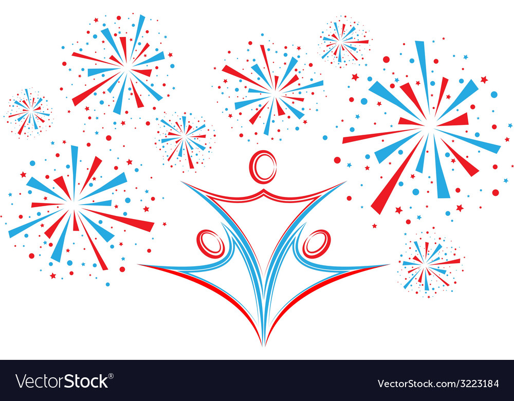 People with fireworks vector | Price: 1 Credit (USD $1)