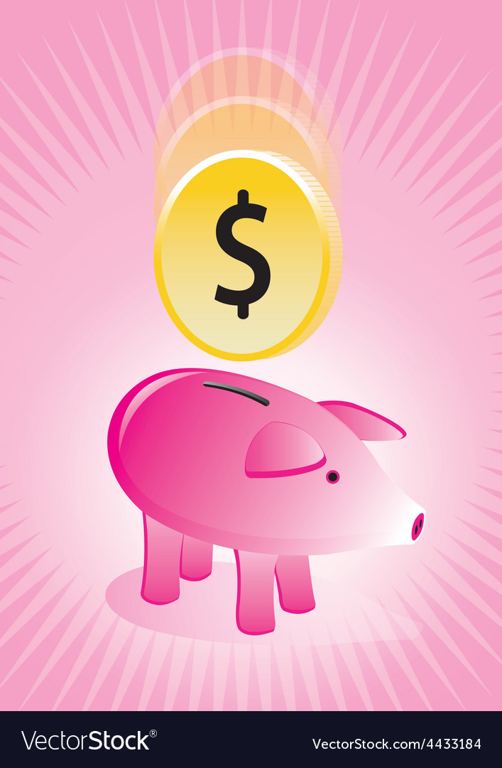 Piggy bank with coin poster vector | Price: 1 Credit (USD $1)