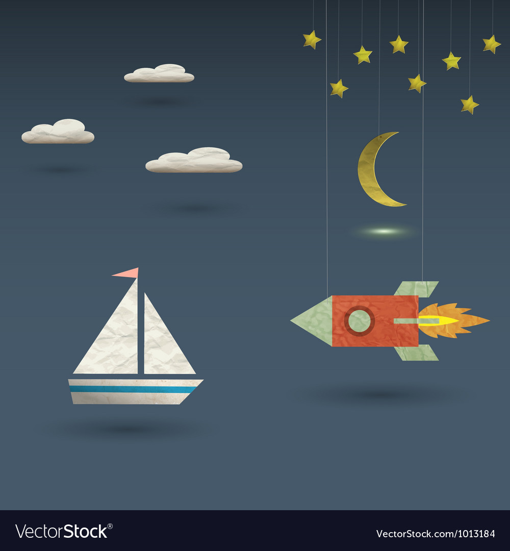 Retro rocket and sailboat vector | Price: 1 Credit (USD $1)